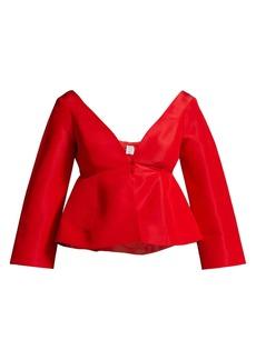 Rosie Assoulin Wide V-Neck Silk Peplum Top