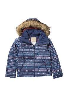 Roxy American Pie Faux Fur Trim Hooded Jacket (Big Girls)