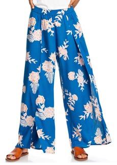 Roxy Adventure Floral Print Slit Wide Leg Pants