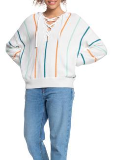 Roxy Bay of Rainbows Stripe Oversize Pancho Sweater