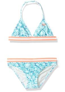 Roxy Big Girls' Caribbean Days Tri Swimsuit Set Marshmallow in The Flow Rg Tw