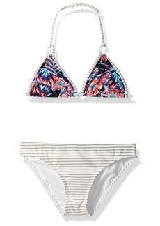 Roxy Big Girls' Surfing Miami Tiki Tri Swimsuit Set