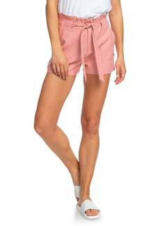 Roxy Chic and Elegance Linen Blend Paperbag Waist Shorts
