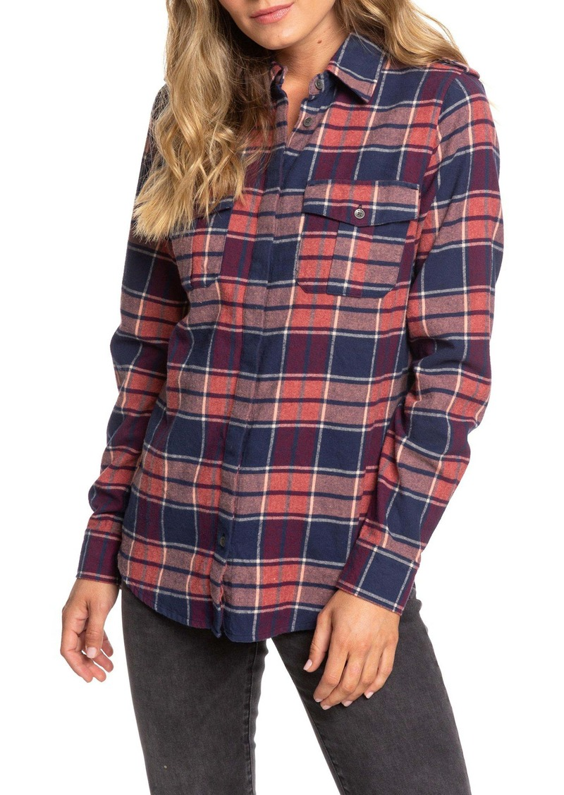Roxy Dream in Blue Plaid Flannel Shirt