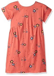 Roxy Girls' Big Dripping Rose Short Sleeve Dress Mineral red Spaced Out Floral 14/XL