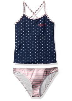 Roxy Girls' Big Surfing USA Tankini Swimsuit Set Dress Blue 4TH of July Stars