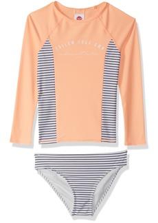 Roxy Girls' Big Tropi Sporty Long Sleeve Rashguard Swimsuit Set  /M