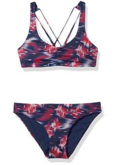 Roxy Girls' Big Tropi Sporty Tri Swimsuit Set Dress Blues neon Waterfall