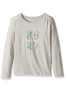 Roxy Girls' Little Never Ages Flower Power Typo Long Sleeve Tee  T