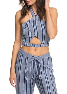 Roxy Jessa Cutout Halter Crop Top