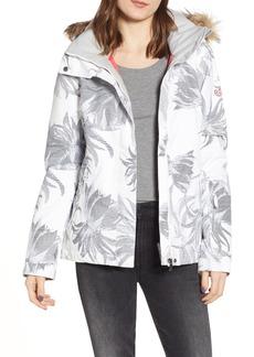 Roxy Jet Ski Slim Fit Waterproof WarmFlight® Insulated Snow Jacket with Faux Fur Trim