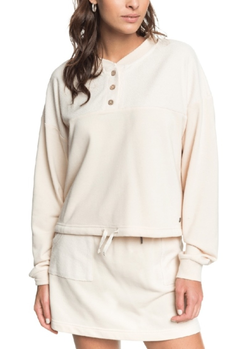 Roxy Juniors' Button-Trim Sweatshirt