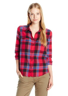 Roxy Juniors Campay Long Sleeve Flannel Shirt oon Plaid Combo Scarlet edium