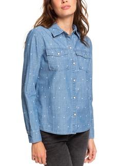 Roxy Juniors' Cotton Heart-Print Boyfriend Shirt