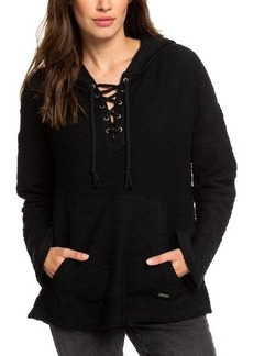 Roxy Juniors' Cotton Lace-Up Hooded Poncho