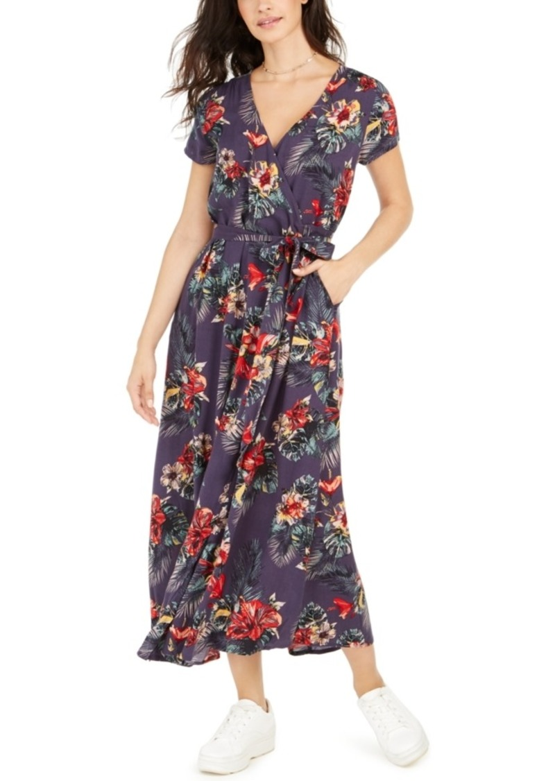 Roxy Juniors' District Day Floral-Print Wrap Dress