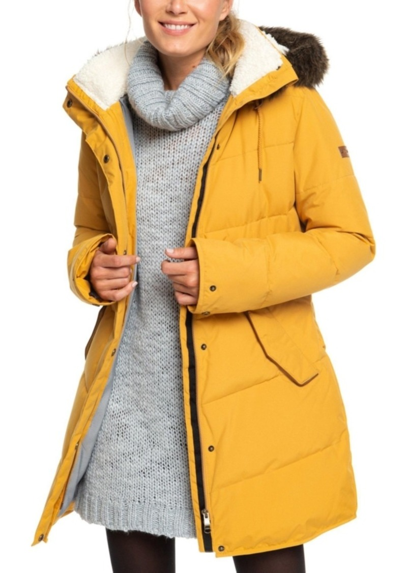 Roxy Juniors' Ellie Hooded Faux-Fur-Trim Puffer Coat