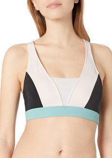 Roxy Junior's Fitness Colorblock Halter Swimsuit Bra Top  S