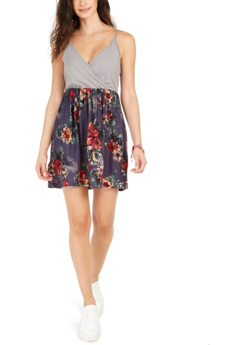 Roxy Juniors' Floral Offering Floral-Print Surplice Dress