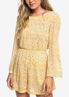Roxy Juniors' Floral-Print Bell-Sleeve Dress