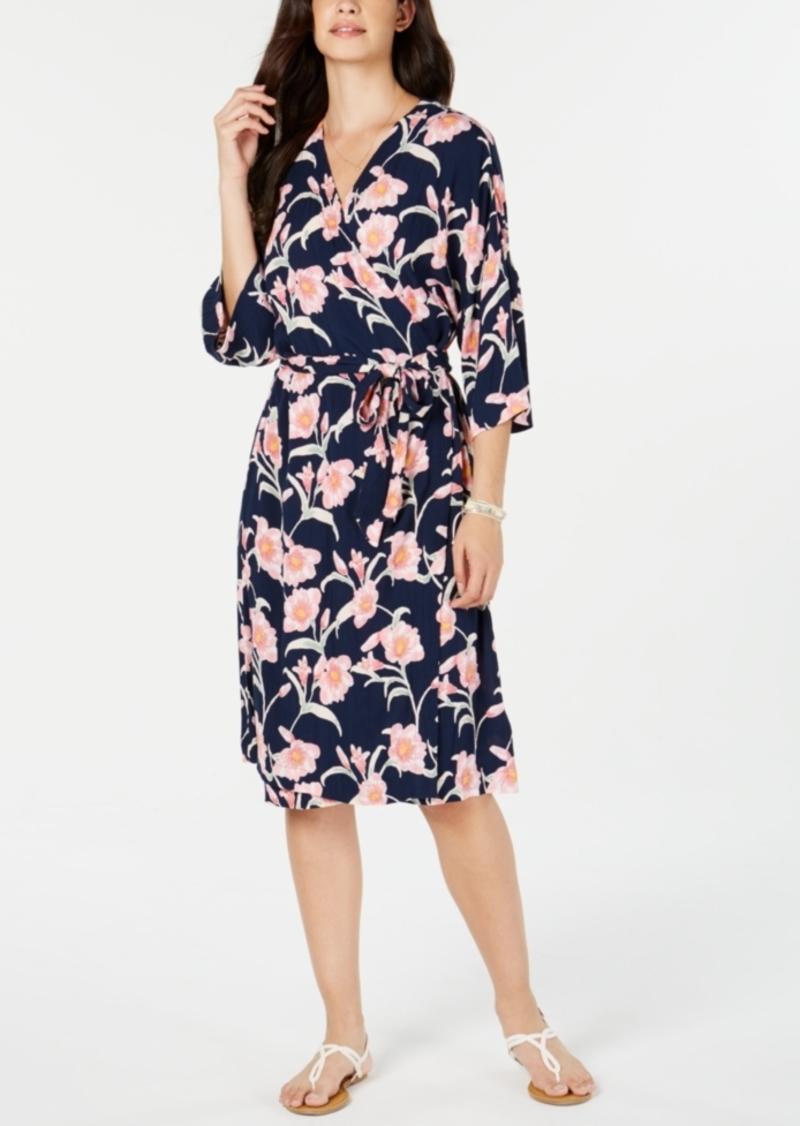 Roxy Juniors' Floral-Print Kimono Wrap Dress