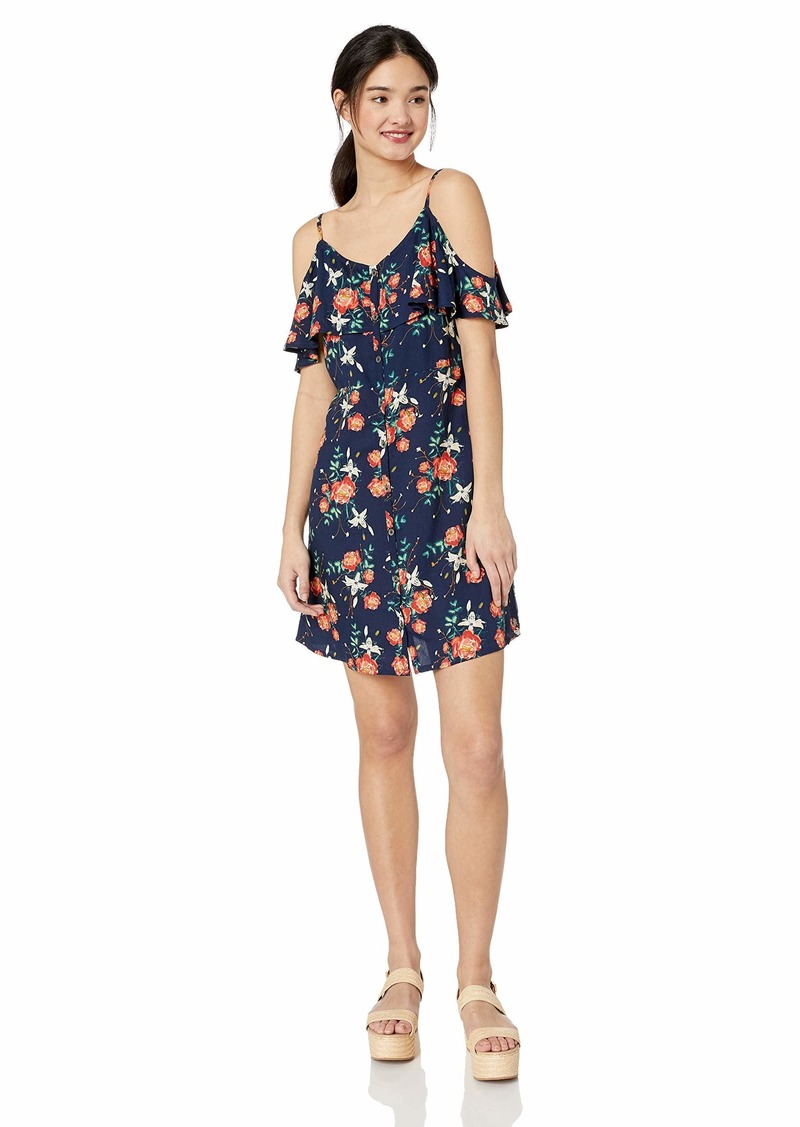 Roxy Junior's Hot Spring Streets Printed Ruffle Sleeve Dress Blue Gard