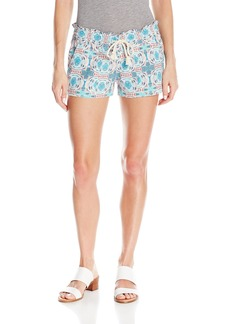 Roxy Junior's Oceanside Printed Beach Shorts Elastic Waist  S