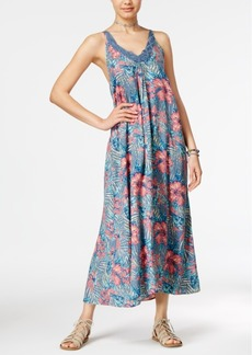 Roxy Juniors' Printed Crochet-Trim Maxi Dress