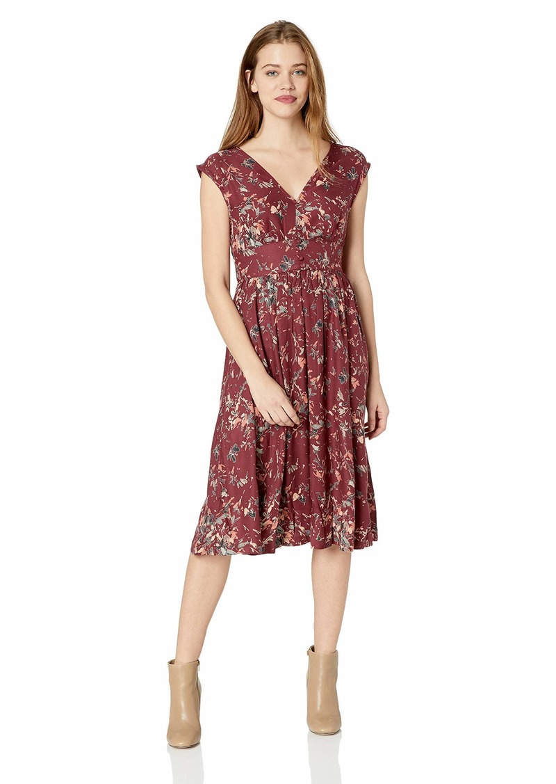 Roxy Junior's Retro Poetic Dress Oxblood red Abstract Ditsy XS