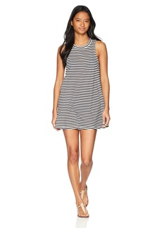 Roxy Junior's Shiny Tee Coverup Dress Bright White As Stripe L