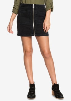 Roxy Juniors' Street Direction Zip-Front Denim Skirt