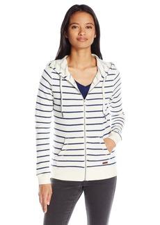 Roxy Junior's Stripe Full Zip Fleece Hoodie arshmallow Signature