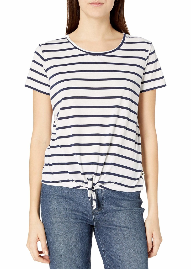 Roxy Junior's This One is for You Tie Front Tee Mood Indigo As Stripes L