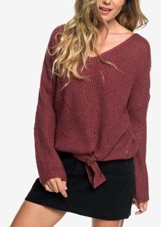 Roxy Juniors' Tie-Front Bell-Sleeve Sweater