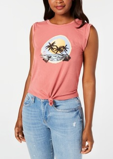 Roxy Juniors' Tie-Front Graphic-Print T-Shirt