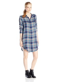 Roxy Junior's Woodwork Twill Button Up Plaid Shirt Dress