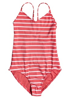 Roxy Kids' Stripe One-Piece Swimsuit (Big Girl)