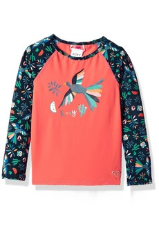 Roxy Little Girls' Birdy Long Sleeve Rashguard Dress Blue Bird in The Sky