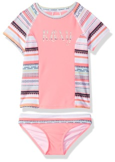 Roxy Girls Little Indi Short Sleeve Rashguard and Bottom Set