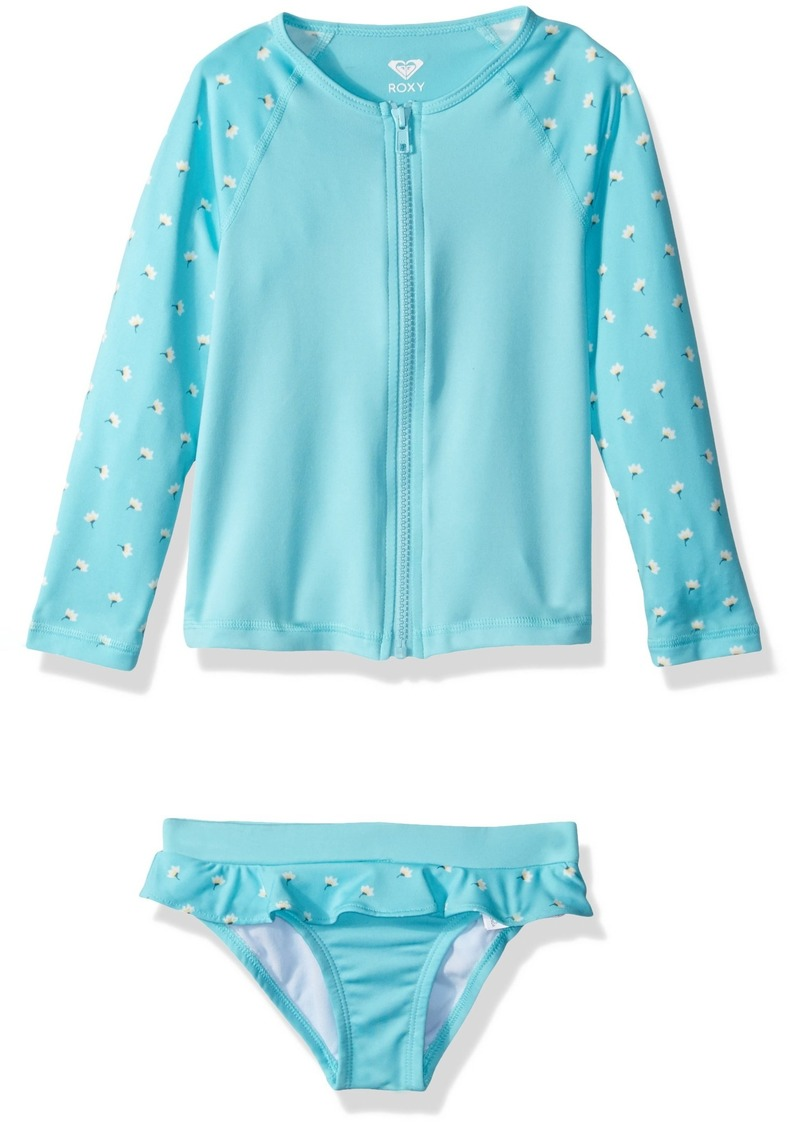 d7fdbbb304c88 Roxy Girls' Little Long Sleeve Zip-Up Rashguard Swimsuit Set Blue Radience  Swim Flower