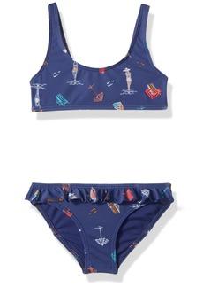 Roxy Little Girls' Tropicool Sunshine Athletic Swimsuit Set Deep Cobalt on The Beach