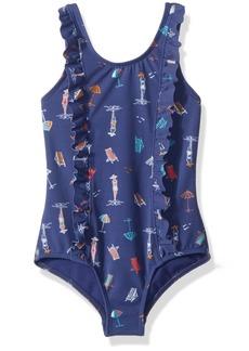 Roxy Little Girls' Tropicool Sunshine One Piece Swimsuit Deep Cobalt on The Beach