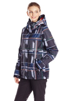 Roxy NOW Junior's Jetty Printed now Jacket wing Dots Plaid Anthracite mall