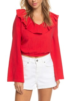 Roxy Paradise Is You Ruffle Trim Bell Sleeve Crop Top