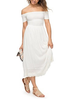 Roxy Pretty Lovers Off the Shoulder Midi Dress