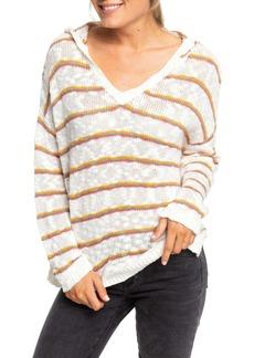 Roxy Sandy Bay Beach Stripe Hooded Sweater