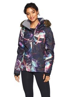 Roxy Snow Junior's Jet Ski Premium Snow Jacket Peacoat_Seamless Feathers L