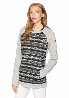 Roxy SNOW Junior's Resin Pullover Crew Sweatshirt True Black_Indie Stripes JACQU M
