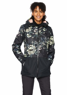 Roxy Snow Junior's Torah Bright Snowflake Jacket True Black Roses L