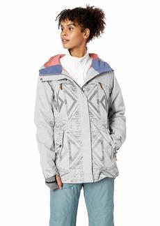 Roxy Snow Junior's Tribe Snow Jacket Warm Heather Grey_Matador Jacquard S